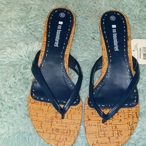 Navy and tan Sandals NIB NWT